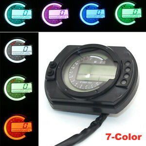 Universal 7-Color Motorcycle LCD Digital Gauge Speedometer Tachometer Odometer