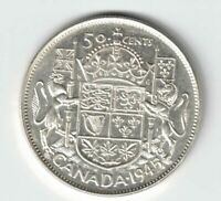 CANADA 1945 BLUNT 5 50 CENTS HALF DOLLAR GEORGE VI CANADIAN .800 SILVER COIN
