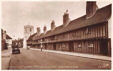 Stratford On Avon Uk Almshouses~Grammar School~Chapel~Postcard Auto Tag Nc-9194