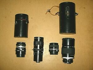 Lot of 4 Vtg 35mm Camera Lenses  3 Nikon + 1Canon + cases