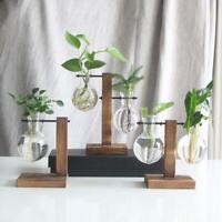 Vintage Glas Pflanze Bonsai Blumen Vase Holz Tablett Rack Topf Desktop Dekor