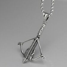 """Silver SOLID Stainless Steel crossbow Pendant ball Chain Necklace 24"""" 60cm"""