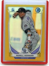 "2014 BOWMAN CHROME #BCP4 ROSELL HERRERA ""GOLD REFRACTOR"" RC SP #9/50, ROCKIES"