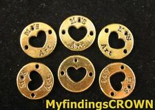 40 Pcs Antiqued gold heart round charms FC771