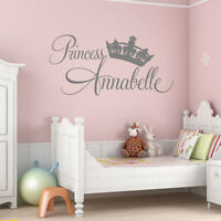PERSONALISED BABY GIRLS PRINCESS WALL STICKER BEDROOM NURSERY ART