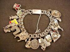 Vintage Sterling Charm Bracelet Mexico Double Link 20 CH Enamel Movable Travel