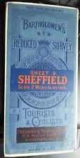 Old Bartholomews Survey Map SHEFFIELD Tourists Cyclists Warne Cloth 3 Shillings