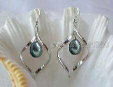 Lady's New 9-10MM Black Freshwater Akoya Pearl Dangle Sterling Silver Earrings