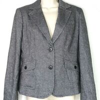 Talbots Blazer Career Business Women Size 4 Black White Lined Long Sleeve Pocket