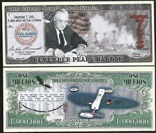 Lot of 500 BILLS - Remember Pearl Harbor with FDR & USS Arizona Memorial Million