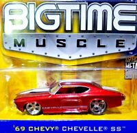 JADA BIGTIME MUSCLE 69 Chevy Chevelle SS Red & White Stripes 1/64 Scale Diecast