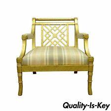 Decorator Hollywood Regency Gold Lattice Back Wood Lounge Fireside Arm Chair vtg