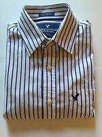 AMERICAN EAGLE Men's Long Sleeve White/Navy  Stripe Shirt  Med. VINTAGE FIT