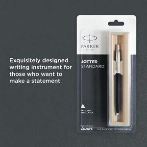 Parker Jotter Standard Chrome Trim Ball Pen Ink Blue smooth writing experience
