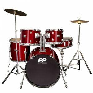 PP Drums 5 piece Fusion Drum Kit - Wine Red (Beginner Starter)