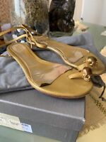 Alexander Mcqueen Scull Gold Leather  Flat Sandals 38