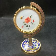 Vintage Rose & Butterfly Double-Sided Silk Embroidery Cloisonné Swivel Frame