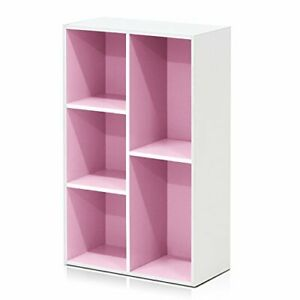 Furinno 5-Cube Reversible Open Shelf, White/Pink 11069WH/PI.