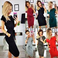 Womens Casual Pocket Summer Ladies Short Sleeve Evening Party Midi Dress UK 8-22