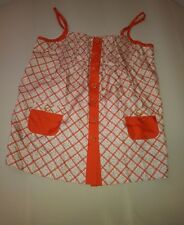 Juicy couture womens blouse size 6 silk sleeveless orange plaid button up