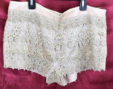 SANS SOUCI Juniors Lined Crochet Lace Mini Shorts Beige Cappuccino Khaki XL