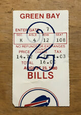 Vintage 1980 Buffalo Bills Preseason Ticket Stub vs Green Bay Packers