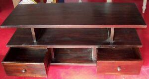 TV Cabinet Teak Solid Wood Wenge cm120x45x50 Ethnic 2 Drawers Sideboard