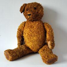 Alter TEDDYBÄR, Glasaugen / Holzwolle,  58 cm, 50er Jahre