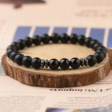 Women Men's Black Tourmaline Matte Agate Stone Yoga Beaded Energy Bracelets