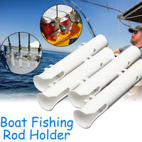 4Pcs 12'' 30cm Boat Fishing Rod Holder Boat Marine Plastic White Tube Mount AU