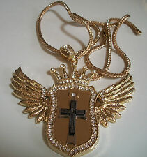 Exclusive Hip hop bling Gold finish Crown,Wings and Cross pendant with chain