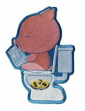"""""""Cha Ching"""" Pig Pooping Coins in Toilet Funny Parody - Novelty Iron On Patch ..."""