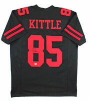 George Kittle Authentic Signed Black Pro Style Jersey w/ Red Numbers BAS Witness
