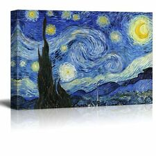 "Starry Night by Vincent Van Gogh - Oil Painting Reproduction on Canvas-24"" x 36"""