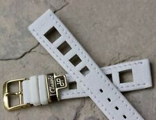 Vintage white 18mm rally watch band all stitched yellow buckle European made NOS
