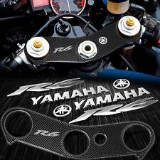 "Handle Bar Carbon Look Yoke Cover+Chrome 6"" Logo+Emblem Sticker 06-16 YZF R6 600"