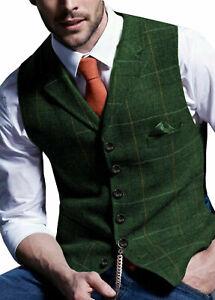 Men Retro Tweed Waistcoat Wool Blend Formal Plaid Herringbone Suit Vest Slim Fit