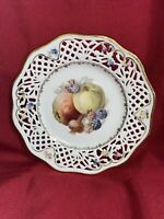 Reticulated Schumann Bavaria Numbered Gold Trimmed Plate With Fruit Deco
