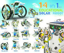 14 In 1 Solar Toy Kit Robot Educational Solar Energy Kid Game Boat Fan Car Gift