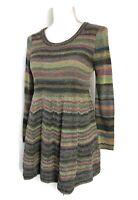 Anthropologie Sweater Gray Green Striped Peplum Wool Long Sleeve Moth Size S