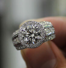 4.40 Ct. Natural Round Cut Halo 3-Row Pave Diamond Engagement Ring - GIA Cert