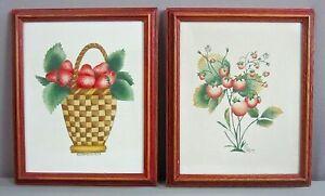 ORIG FOLK ART THEOREMS__2pcs by E Daniels '79__Strawberries__Framed__SHIPS FREE