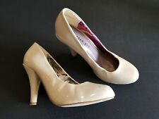 Madden Girl size 4 (37) ivory / beige faux patent leather slim heel court shoes
