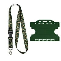 ROLSELEY Lanyard Camouflage Pattern with Metal Clip + Dark Green Cardholder