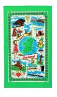 Around Ireland Tea Towel Souvenir Gift Map Irish Scenes Eire Green Leprechaun