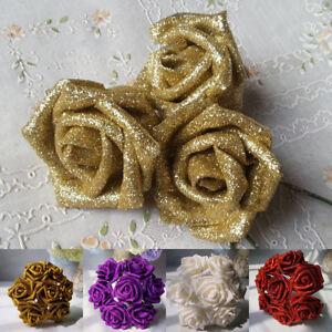 5/10/50pcs Glitter Foam Rose Flowers Bride Bouquet Home Wedding Party DIY Decor