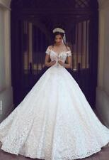 Vintage Lace  Ball Gown Wedding Dress White/Ivory Sleeveless Bridal Gown