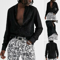 Mens Fashion Long Sleeve Shirt Causal Slim Fit Party Clubwear Sequin Blouse Tops