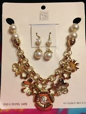 NEW VICTORIAN GOLD FLOWER PEARL NECKLACE EARRINGS SET