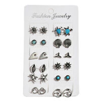 NEW 12 PAIRS MIXED STYLE STUD EARRINGS SET SEA THEME  WOMENS LADIES BOHO JEWELRY